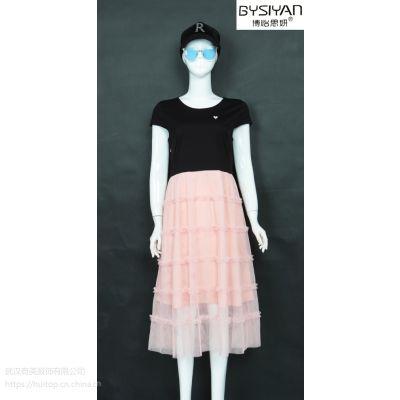 19年纯色中长款连衣裙品牌女装夏季精品