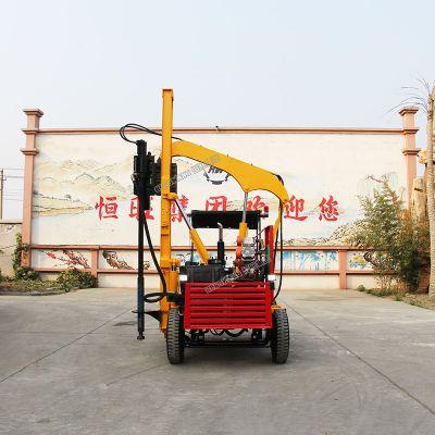 轮式空压机一体护栏打桩机 公路护栏打桩钻孔机厂家直销打桩快的小四轮打桩机