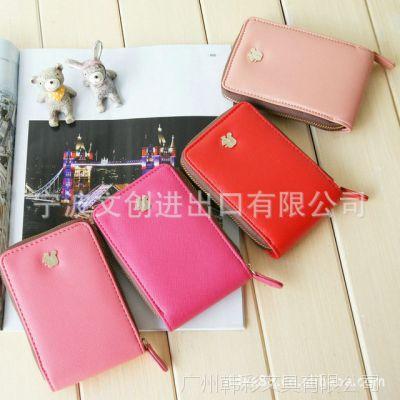 韩版 松鼠皇冠 女士 方形 皮质拉链手机包 零钱包 带卡位