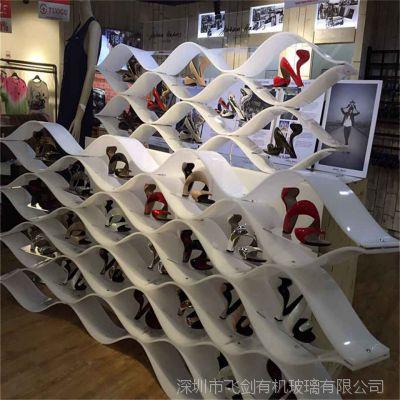 亚克力高档女鞋展示架 进口有机玻璃高质量精美新款鞋服展示架