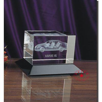 汽车展会内雕纪念品,丰田4S店周年庆典水晶礼品定做,购车送客户的水晶摆件
