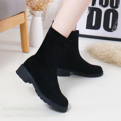 靴子女短靴春秋2018新款字母女鞋韩版厚底弹力靴英伦粗跟圆头马丁靴