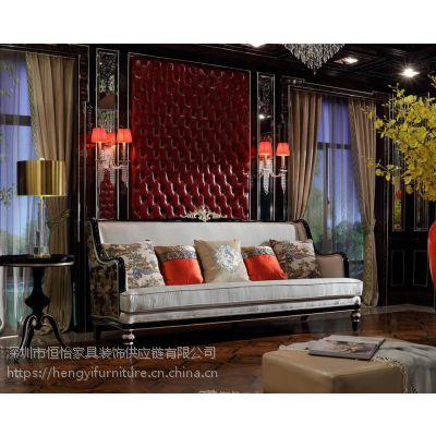 法式新古典别墅豪宅客厅家具定制 V08法式轻奢全屋定制家具厂豪华软包背景墙实木奢华沙发