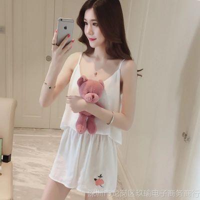 睡衣女夏吊带冰丝性感短裤两件套宽松短袖套装家居服夏天女士韩版