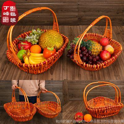 方红黄花篮(套)水果花篮 柳藤编织花篮水果篮送礼春节年货