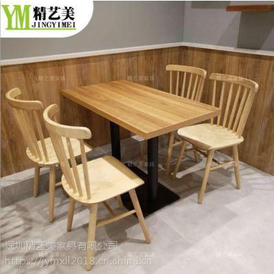 简约现代简餐连锁鸭血粉丝实木餐桌椅子 白蜡木餐椅深圳多多乐家具厂定制