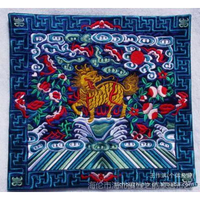 厂家定制批发中式机器刺绣龙凤麒麟鹤图案鼠标垫 刺绣布艺工作品