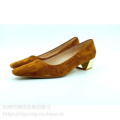 早春新款原创设计舒适型高跟鞋粗跟小方头全皮简约百搭女单鞋9014