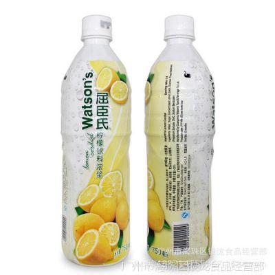 甜品原料屈臣氏黄柠檬汁(浓浆)饮料浓缩汁750ml 鸡尾酒调酒