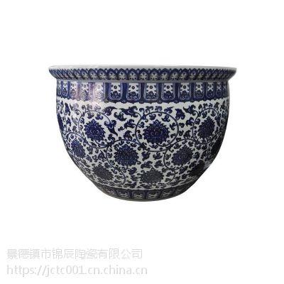 现代时尚陶瓷大缸 青花瓷大缸摆件定制