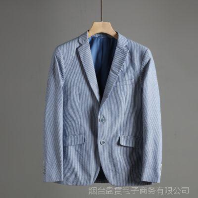 外贸男装品牌剪标男士西装条纹西服男式纯棉商务休闲便服单西外套