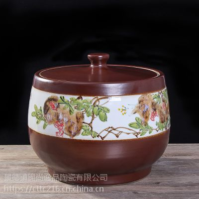 景德镇米桶储物罐酒坛水缸陶瓷米缸50斤陶瓷米缸米桶40斤