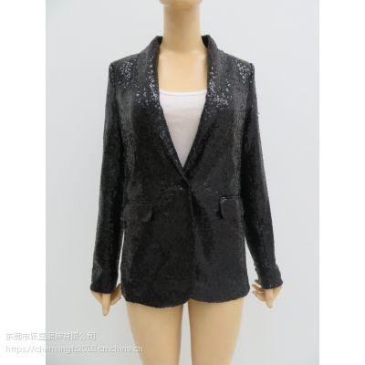 女士纯色亮片外套,V领开衫外套