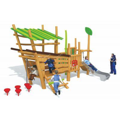 北京公园景区儿童木质组合滑梯,户外无动力儿童小型木质滑梯可加工定做
