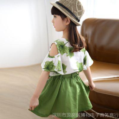 女童套装2018新款夏装女中童恤短袖裙子大童儿童休闲韩版两件套