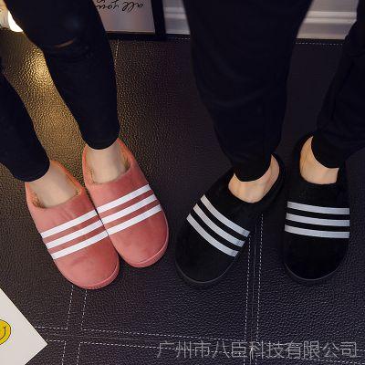 新款家居棉拖鞋情侣可爱半包跟棉拖鞋男女冬季室内厚底防滑月子鞋