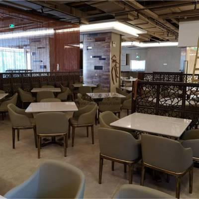 毕节市越南菜馆家具定做,人造石餐桌和软包扶手椅子组合