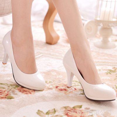 四季款舒适正装女鞋细跟圆头职业鞋黑色高跟大码皮鞋特价