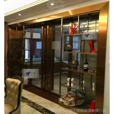 家庭客厅玫瑰金不锈钢展示架装饰不锈钢展示柜厂家加工定制