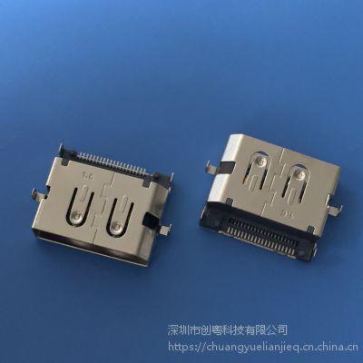 DispalyPort高清音频插座 大DP20P 两脚沉板1.6mm 前插后贴 双排贴板SMT带柱