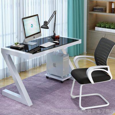 电脑桌台式家用学习书桌钢化玻璃一体机简易写字台桌电竞游戏桌子