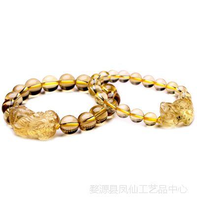 礼品摆件合成黄水晶貔貅手链男士皮丘手串女情侣款时尚饰品