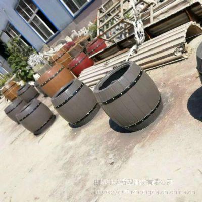厂家定制户外道路水泥仿木花箱组合景观花箱 室外仿木花桶花坛