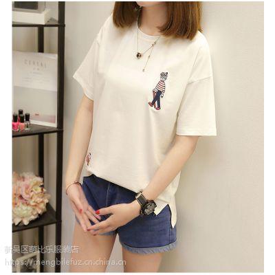 韩版新款女装t恤 潮流短袖宽松大码T恤女刺绣创意休闲圆领女装体恤卫衣