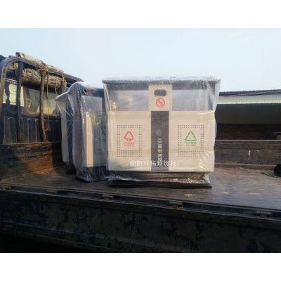 批发侧投口方形双色冲孔钢制垃圾桶 环卫果皮箱批发 德阳罗江片区垃圾箱供应