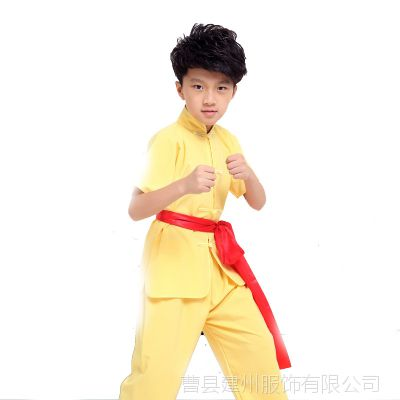 儿童武术服练功服纯棉短袖少儿功夫训练衣服男女童太极服表演服装