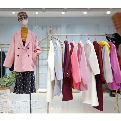 广州季思羽双面呢大衣品牌折扣女装批发货源