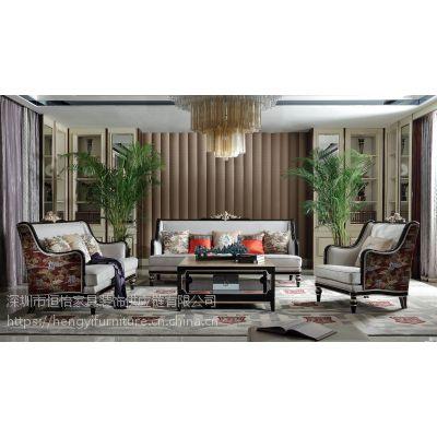 法式新古典轻奢高档布艺沙发组合别墅豪宅客厅家具定制 1+2+3位沙发 VA08-3全屋定制实木家具厂