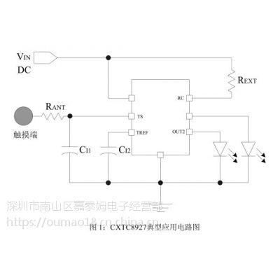 供应嘉泰姆驱动IC CXTC8927双通道电容式触摸台灯控制芯片,单键触摸两路输出无极调光控制