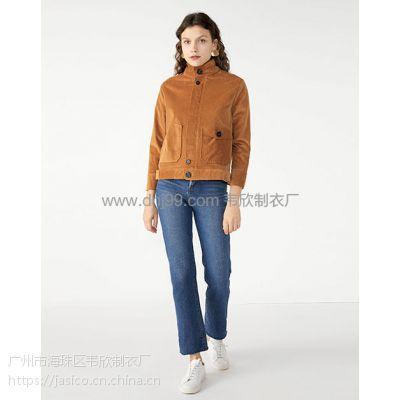 外贸服装厂欧美纯色拼接口袋短款外套上衣