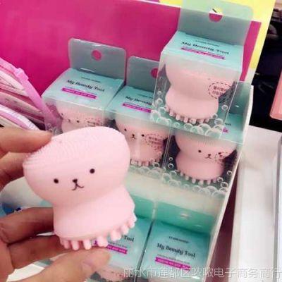 小章鱼洗脸刷粉色硅胶洁面仪卡通粉扑起泡按摩刷