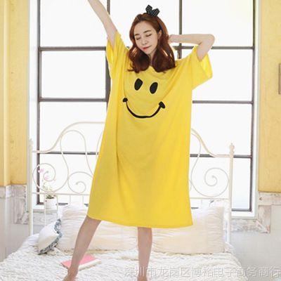 2018睡衣女夏季睡裙韩版可爱清新学生宽松大码短袖中长款家居新款