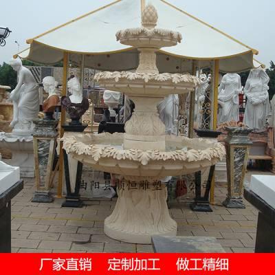 埃及米黄石材水钵大理石石雕喷泉厂家定制