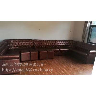 酒吧KTV沙发定做U型卡座沙发高档欧式拉扣沙发厂家供应