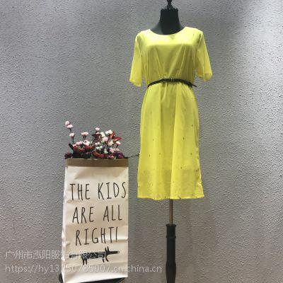 澜熙品牌2019夏季女装高端复合真丝连衣裙