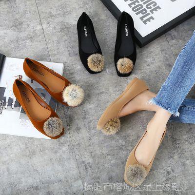 新款百搭兔毛球珍珠平跟鞋 绒面方头时尚休闲女单鞋简约浅口女鞋
