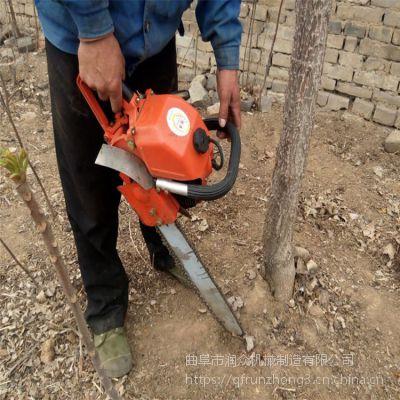 挖树机合金链条手提断根移苗机冻土质移苗挖树机