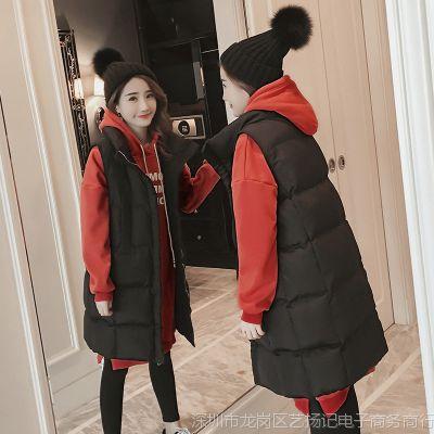 马甲两件套女冬中长款2017新款韩版学生连帽加绒加厚时髦套装卫衣