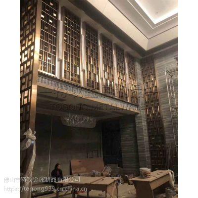 MT01古铜色屏风花格|特攻艺术不锈钢屏风隔断|激光镂空金属花格定制