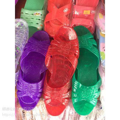 塑胶女水晶拖鞋,三色入