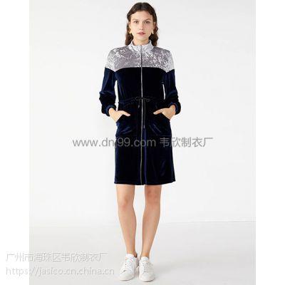 广州韦欣服装厂欧美休闲长袖纯色拼接收腰系带连衣裙