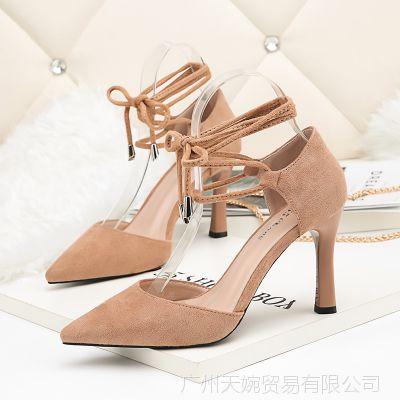 3919-3韩版时尚尖头高跟鞋夜店性感系带中空女单鞋细跟浅口女鞋