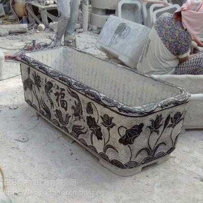 青石仿古做旧花盆荷花缸石槽养鱼池庭院别墅装饰摆件