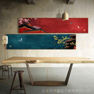 新中式客厅沙发背景墙壁画卧室床头创意古典花鸟意境装饰画 倾城