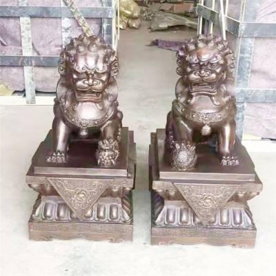 辽宁紫铜狮子-恒保发铜雕厂支持定制-2米紫铜狮子