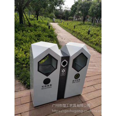 楚工室外分类果皮箱 双桶垃圾桶价格 环保不锈钢回收箱